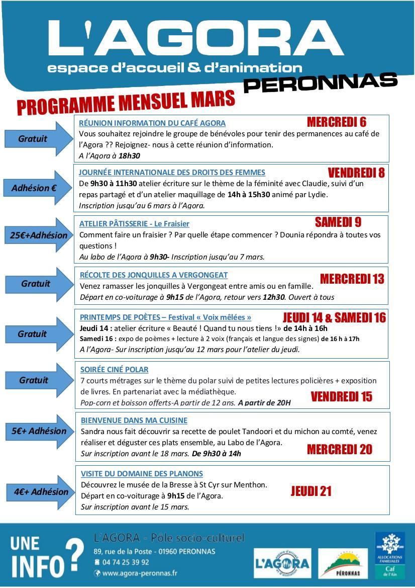 Programme mensuel de Mars